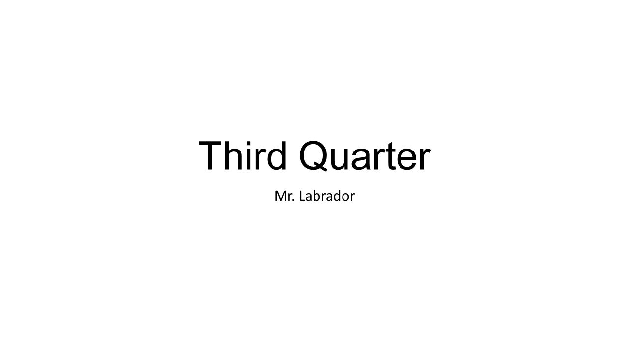 Third Quarter Mr. Labrador