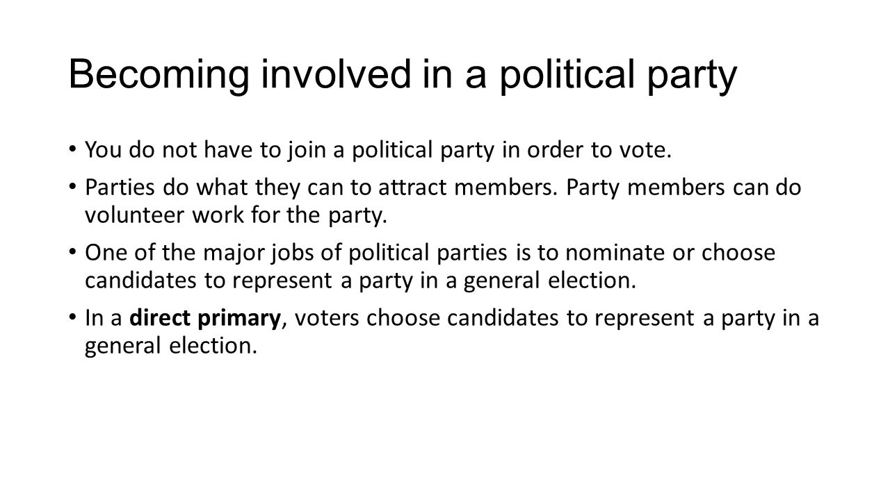Becoming involved in a political party