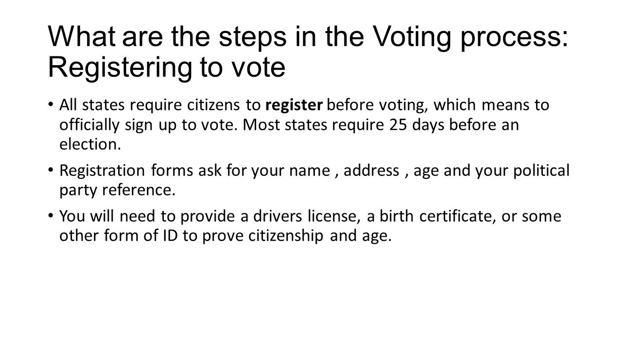 What are the steps in the Voting process: Registering to vote