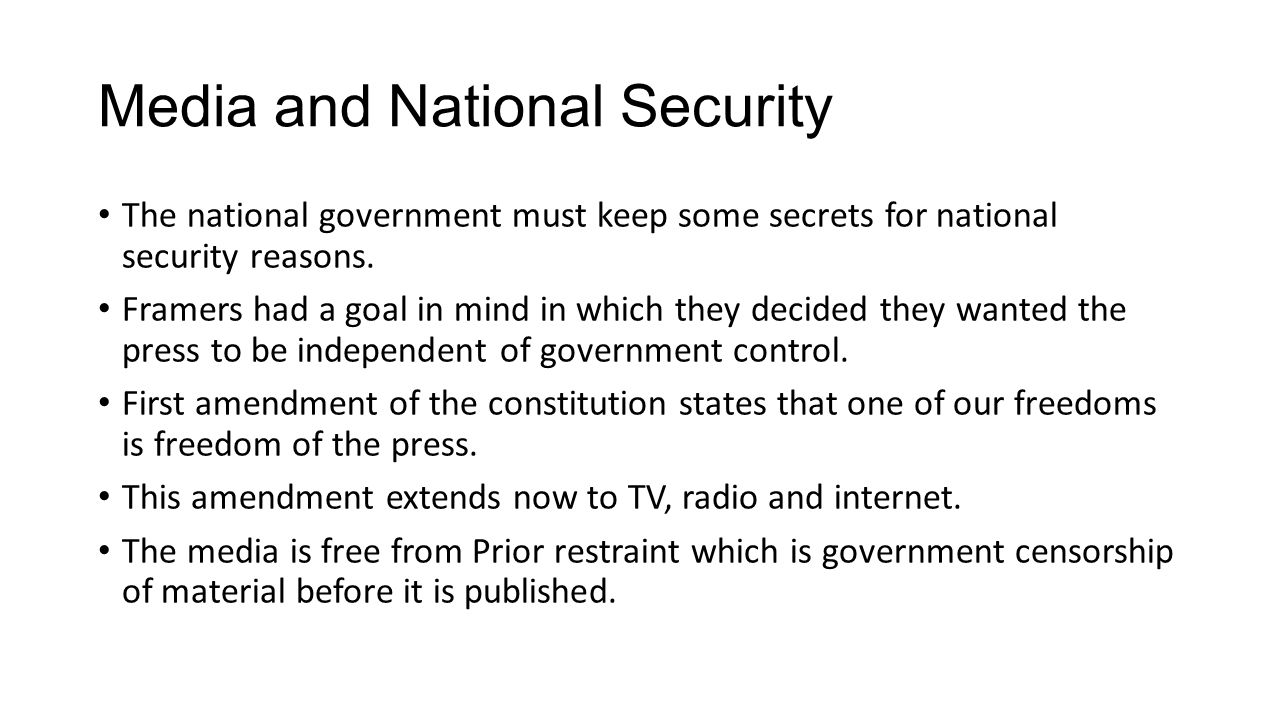 Media and National Security