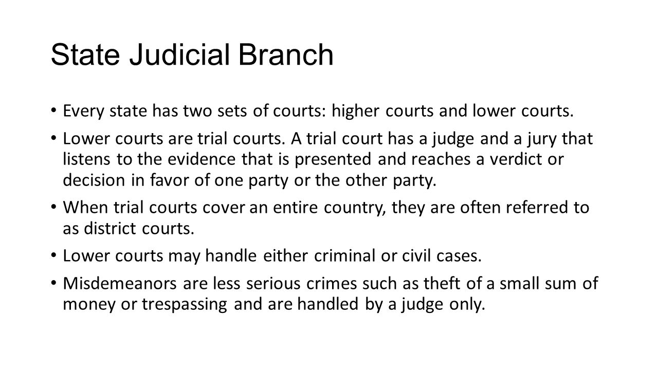 State Judicial Branch Every state has two sets of courts: higher courts and lower courts.