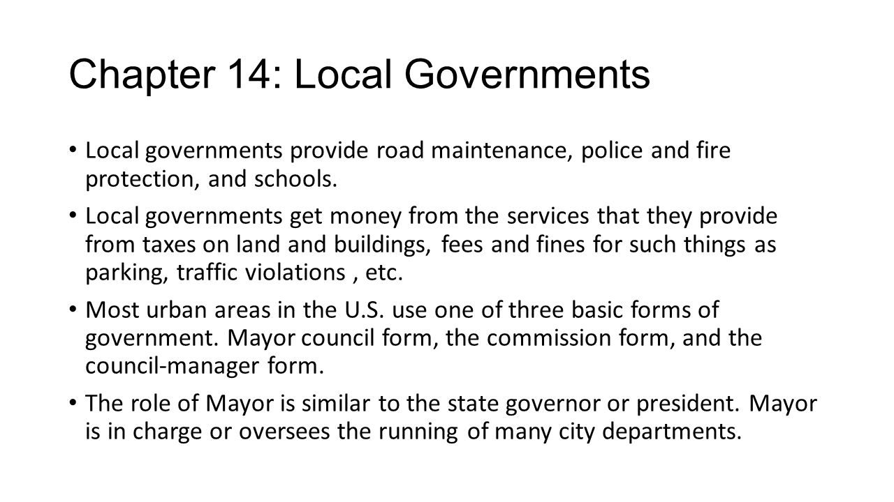 Chapter 14: Local Governments