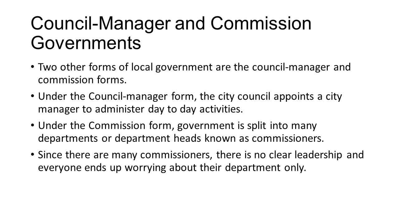 Council-Manager and Commission Governments