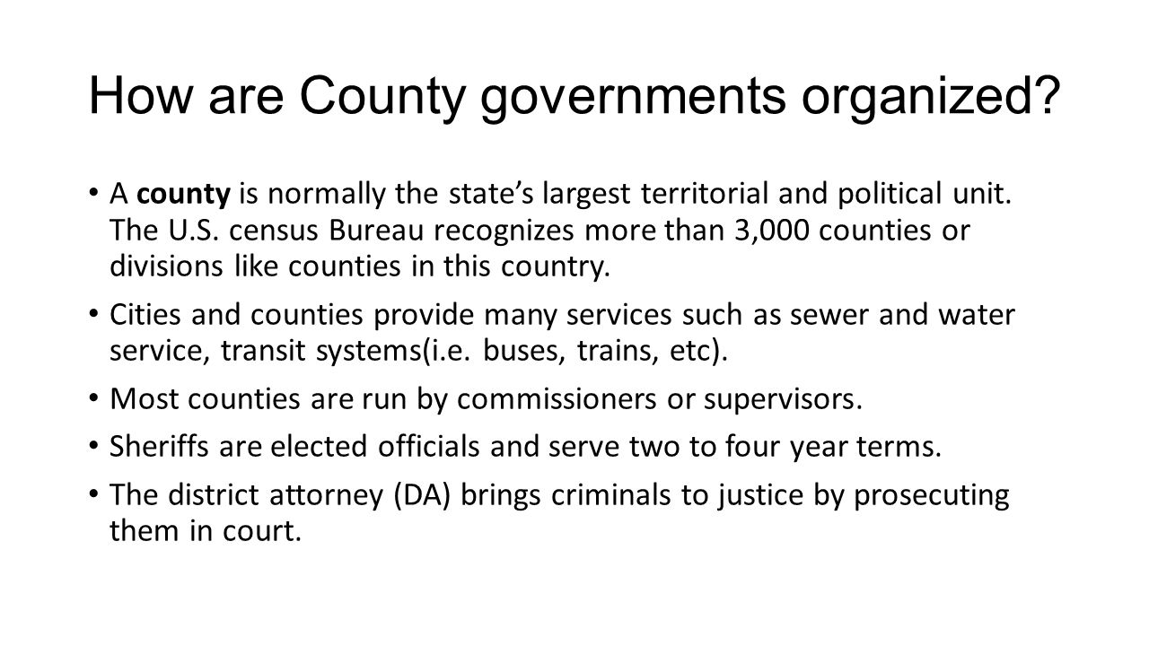 How are County governments organized