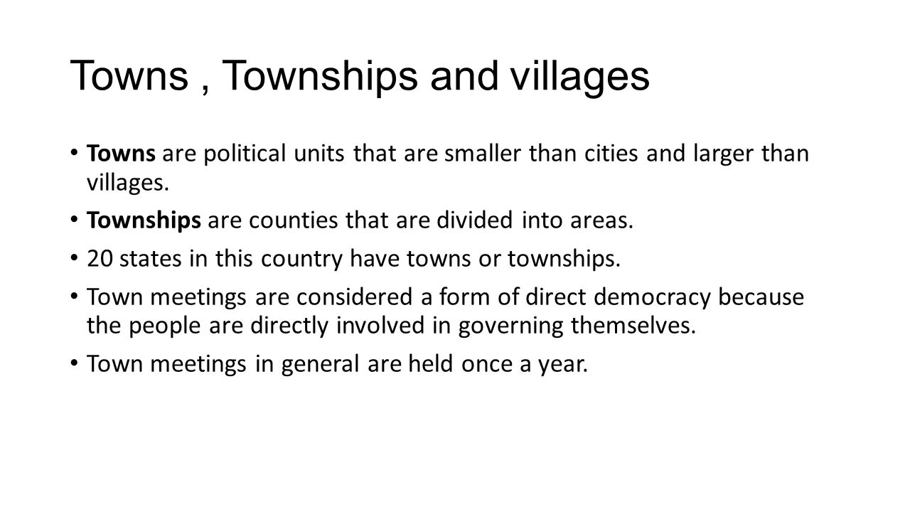 Towns , Townships and villages