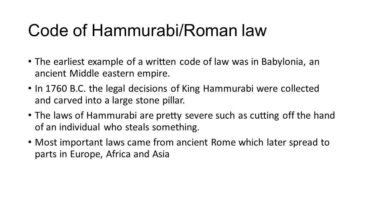 Code of Hammurabi/Roman law