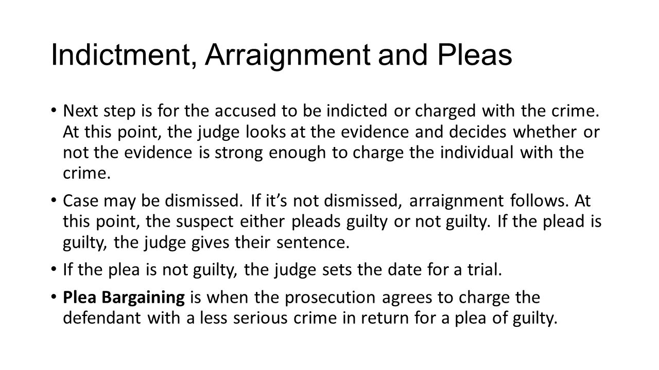 Indictment, Arraignment and Pleas