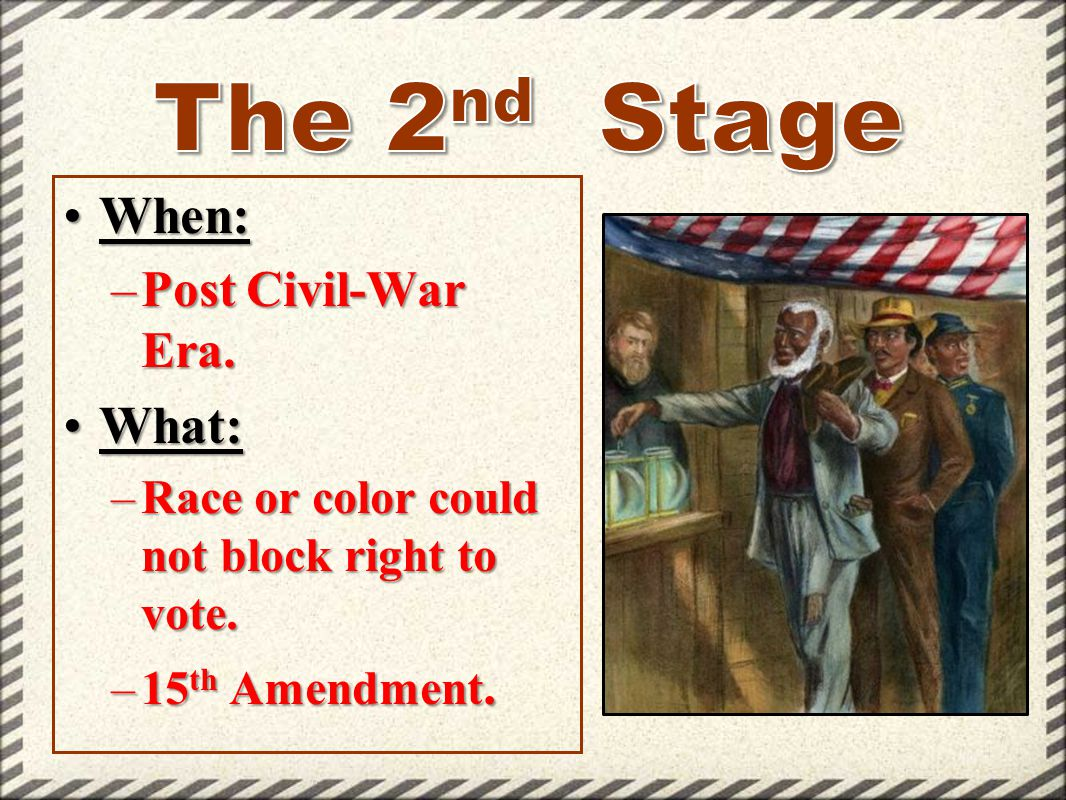 The 2nd Stage When: What: Post Civil-War Era.