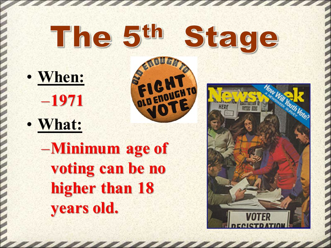 The 5th Stage When: 1971 What: