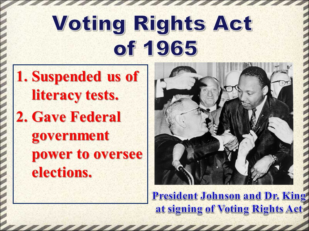 President Johnson and Dr. King at signing of Voting Rights Act