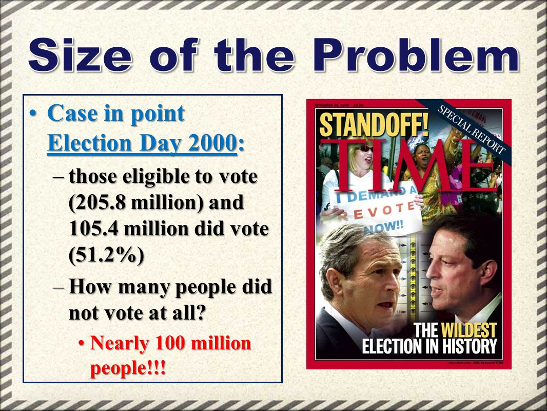 Size of the Problem Case in point Election Day 2000: