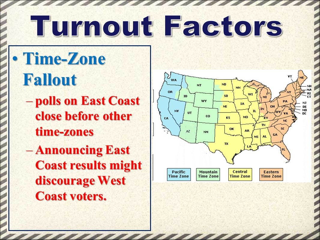 Turnout Factors Time-Zone Fallout