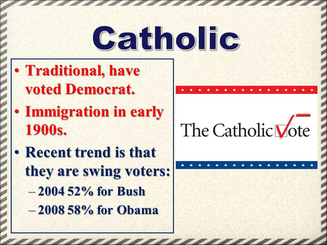 Catholic Traditional, have voted Democrat. Immigration in early 1900s.
