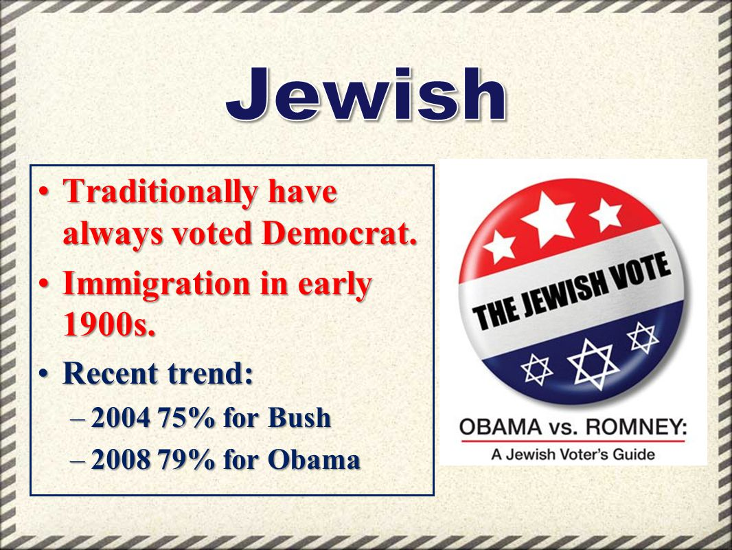 Jewish Traditionally have always voted Democrat.