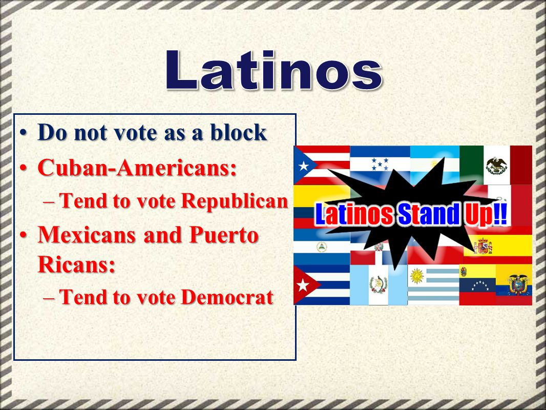 Latinos Do not vote as a block Cuban-Americans: