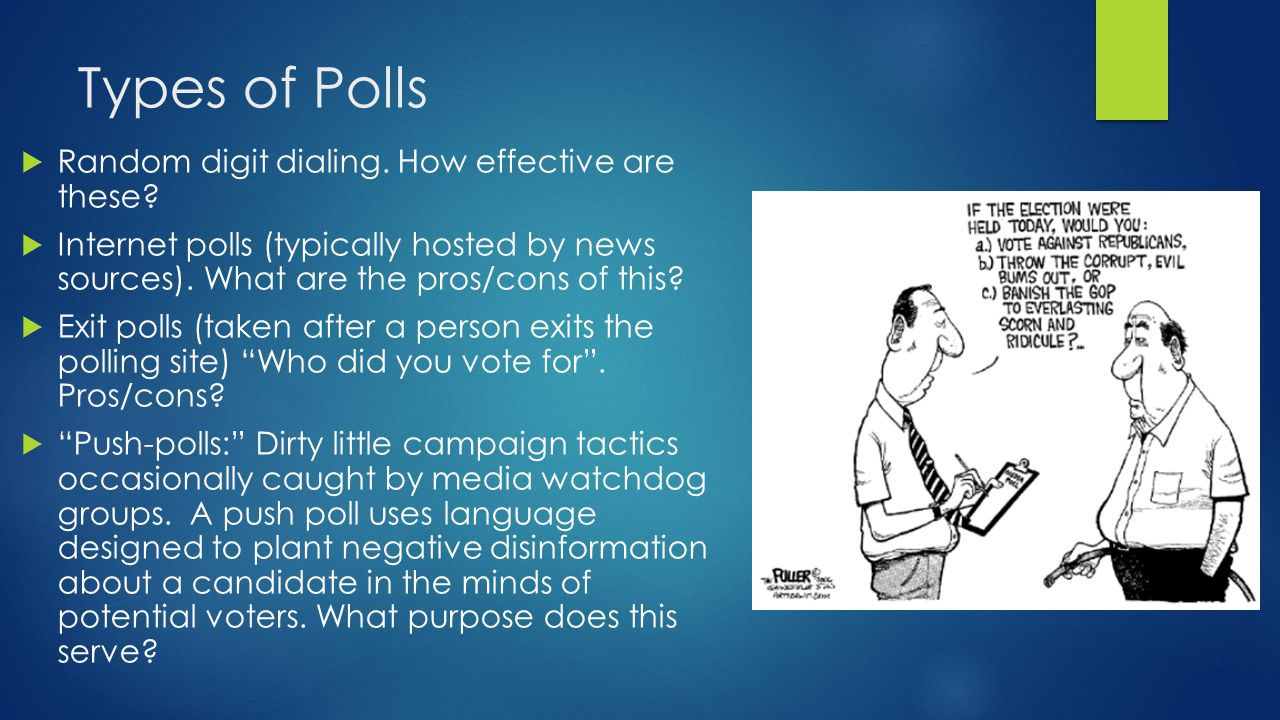 Types of Polls Random digit dialing. How effective are these