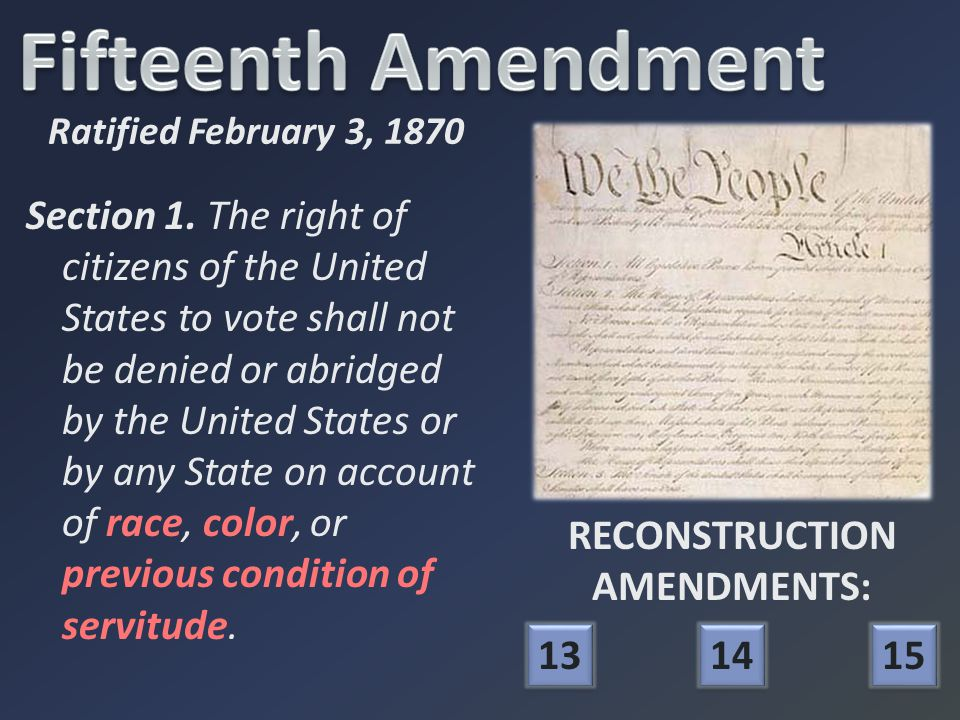 RECONSTRUCTION AMENDMENTS: