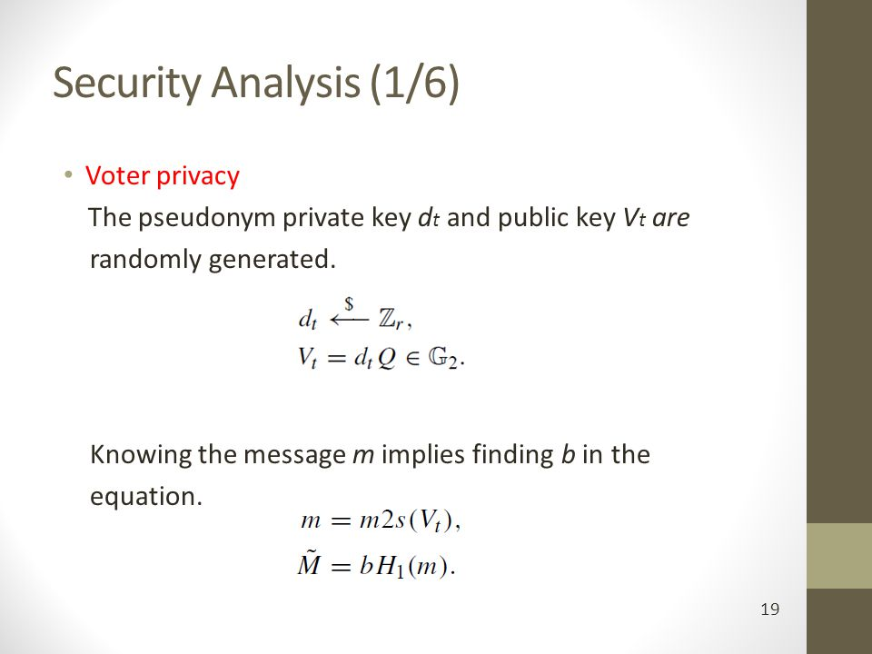Security Analysis (1/6) Voter privacy randomly generated.
