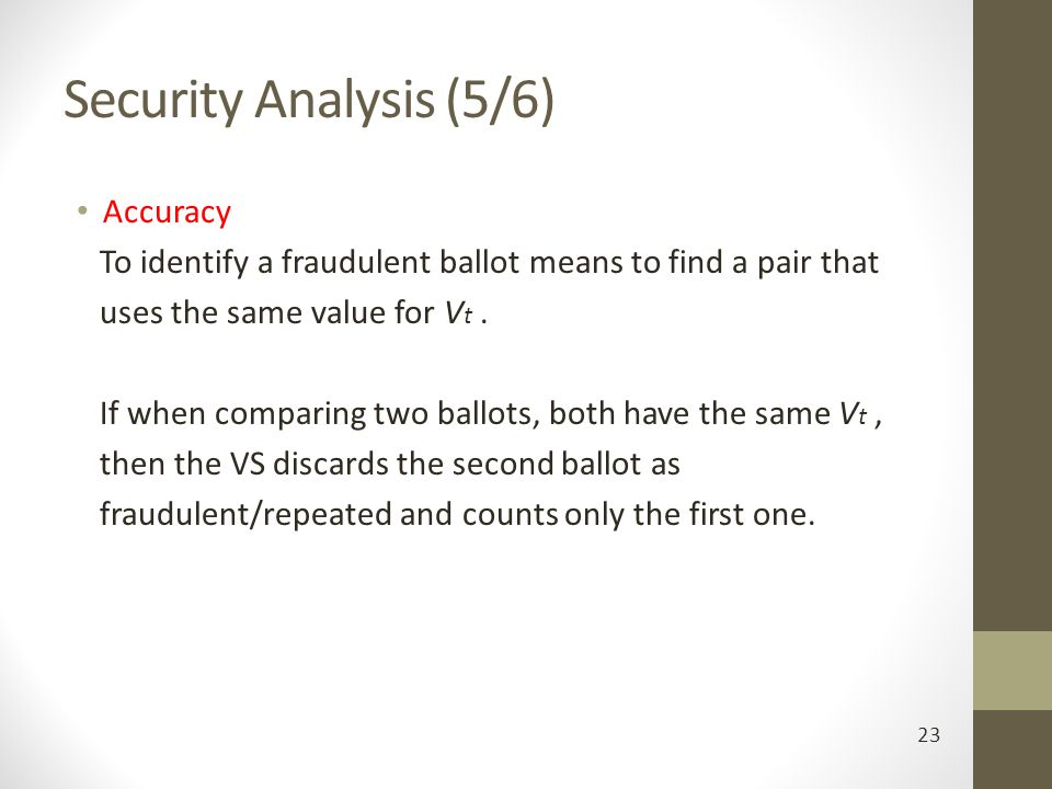 Security Analysis (5/6) Accuracy