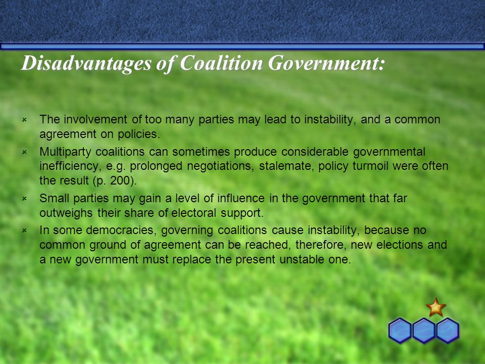 Disadvantages of Coalition Government: