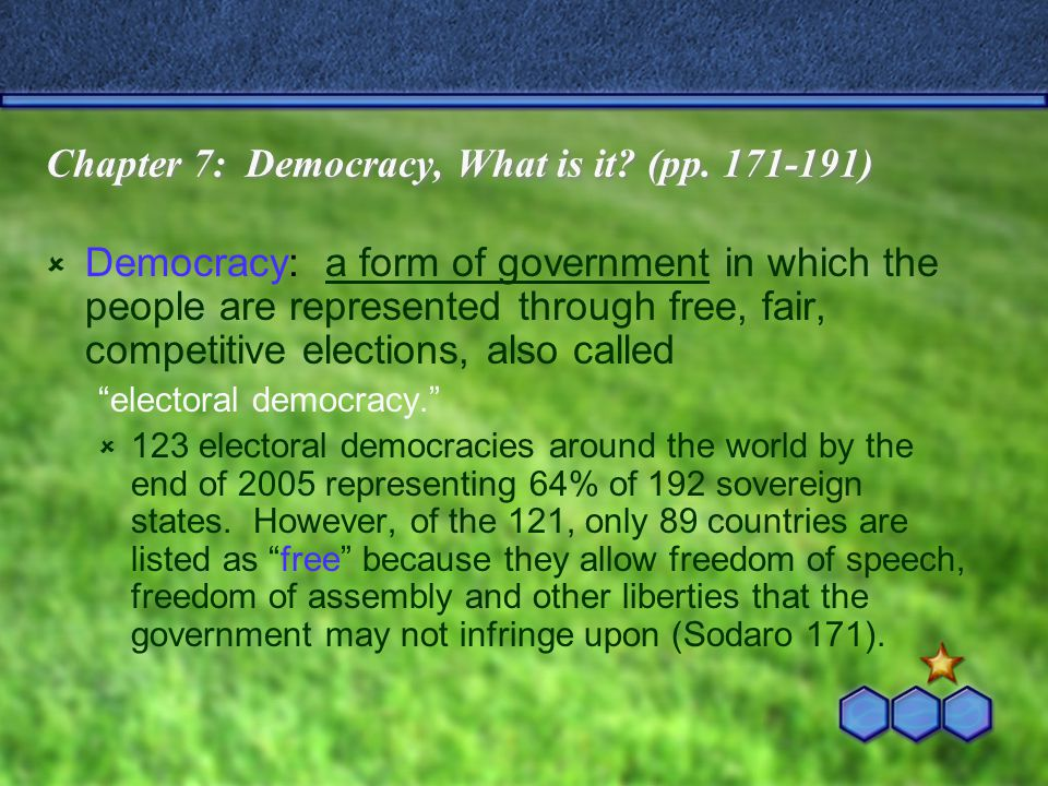 Chapter 7: Democracy, What is it (pp. 171-191)