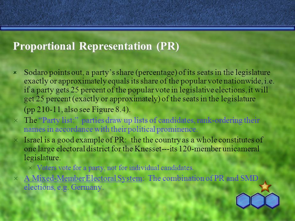 Proportional Representation (PR)