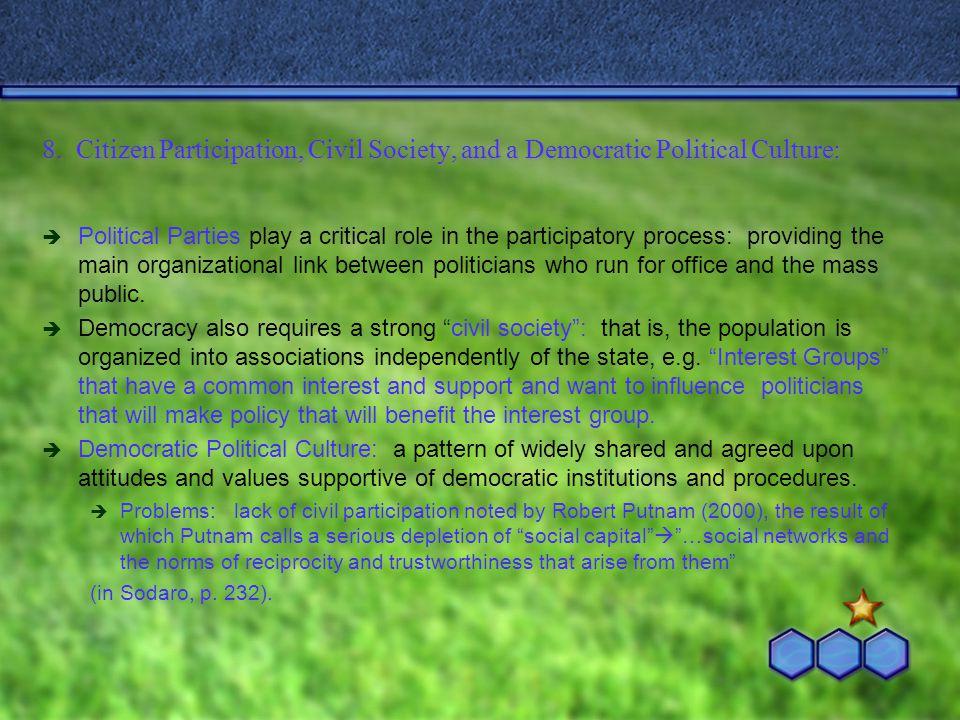 8. Citizen Participation, Civil Society, and a Democratic Political Culture: