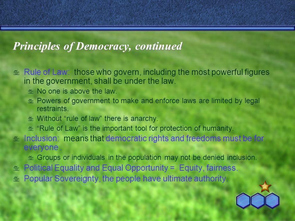 Principles of Democracy, continued