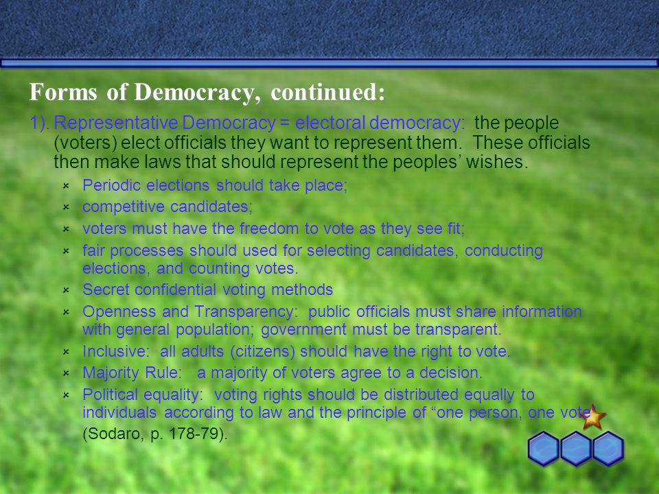 Forms of Democracy, continued: