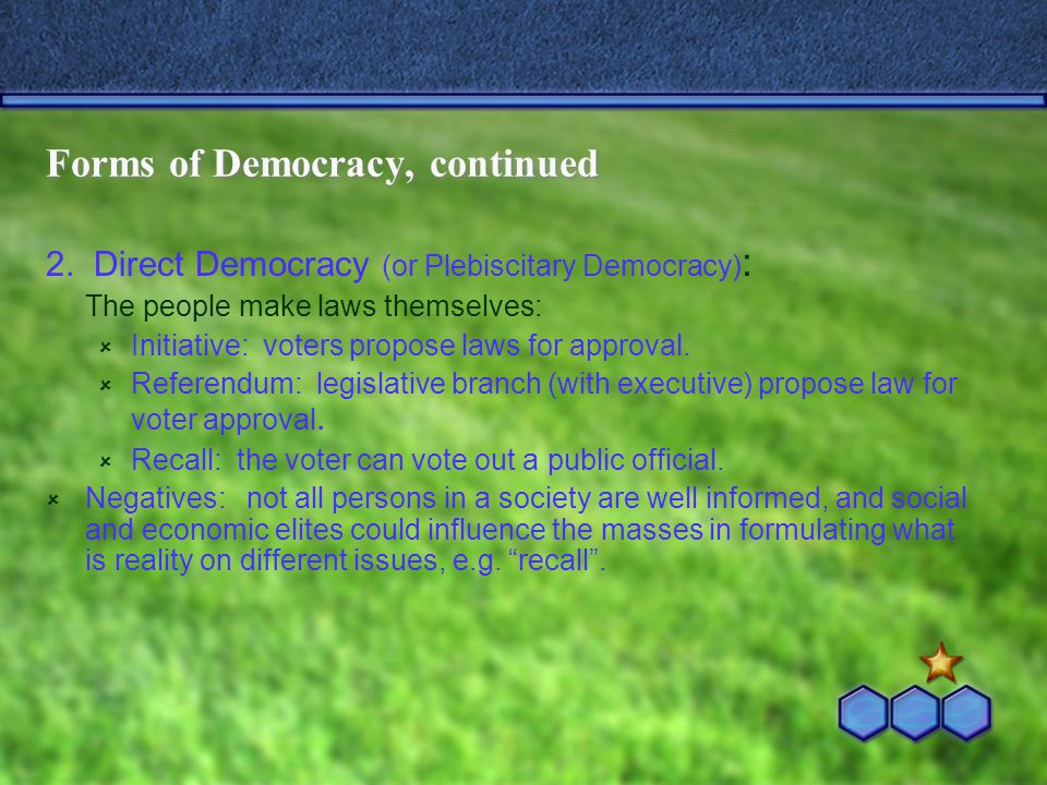 Forms of Democracy, continued