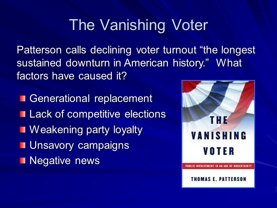 The Vanishing Voter Patterson calls declining voter turnout the longest sustained downturn in American history. What factors have caused it