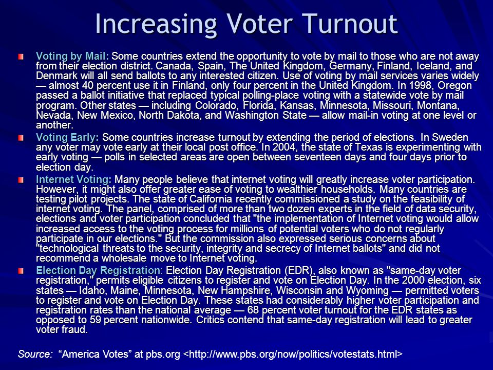Increasing Voter Turnout