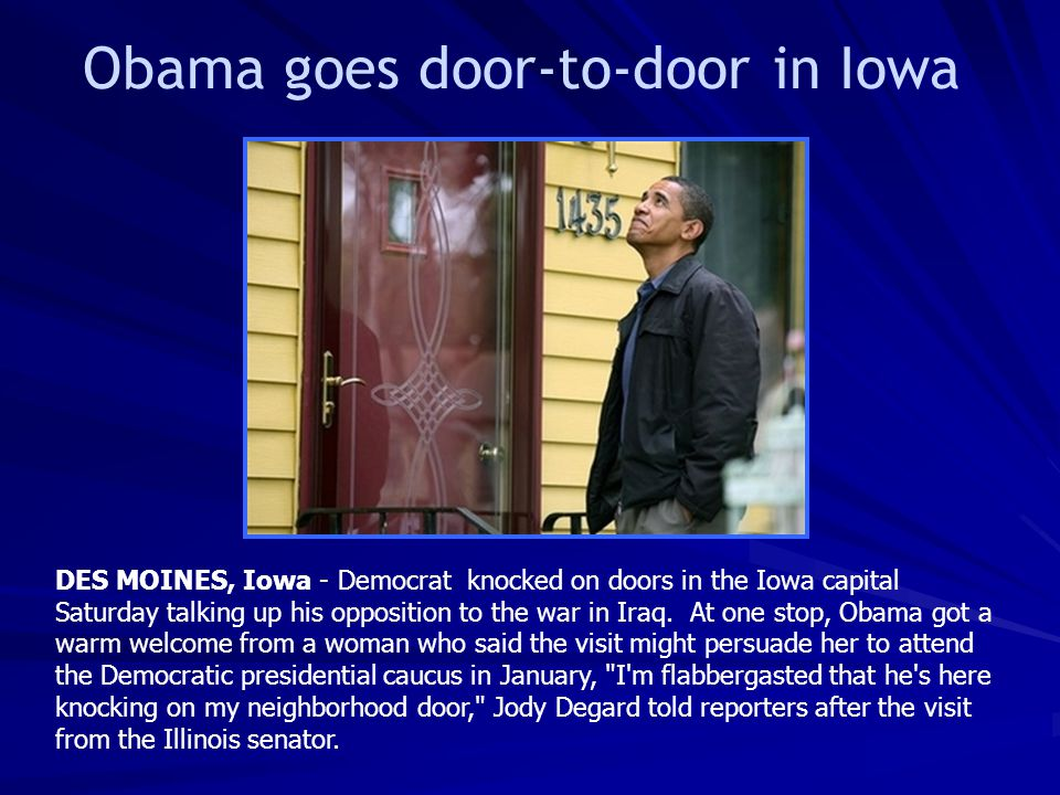 Obama goes door-to-door in Iowa