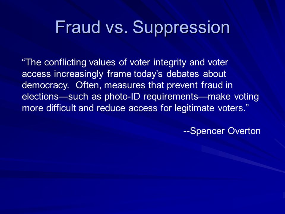 Fraud vs. Suppression