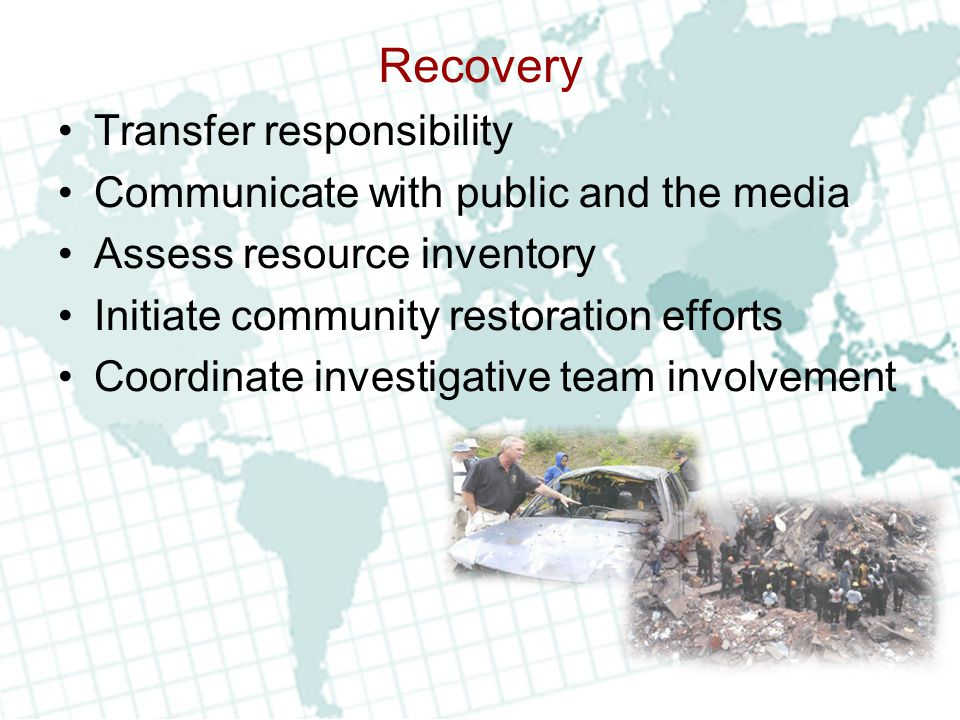 Recovery Transfer responsibility Communicate with public and the media