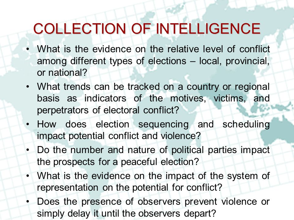 COLLECTION OF INTELLIGENCE