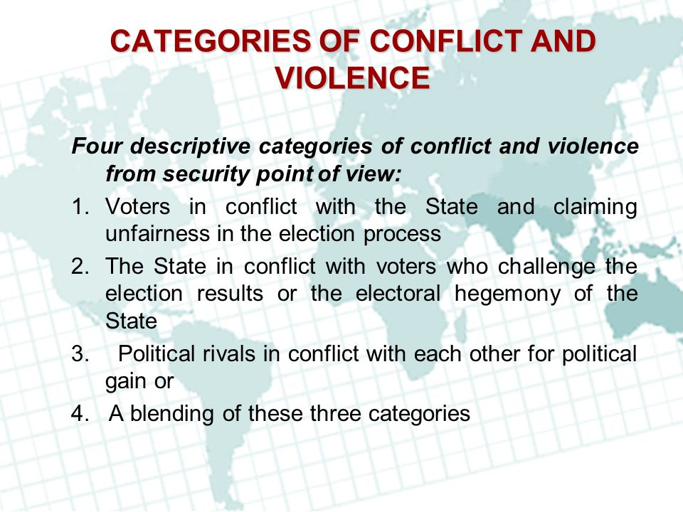 CATEGORIES OF CONFLICT AND VIOLENCE