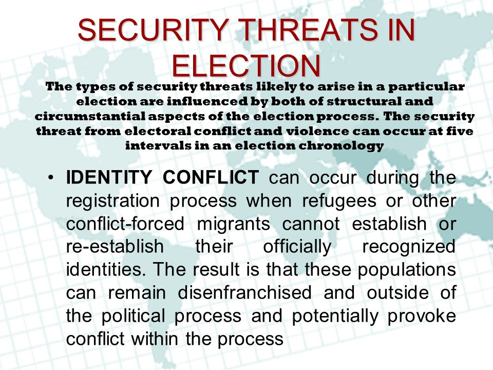 SECURITY THREATS IN ELECTION