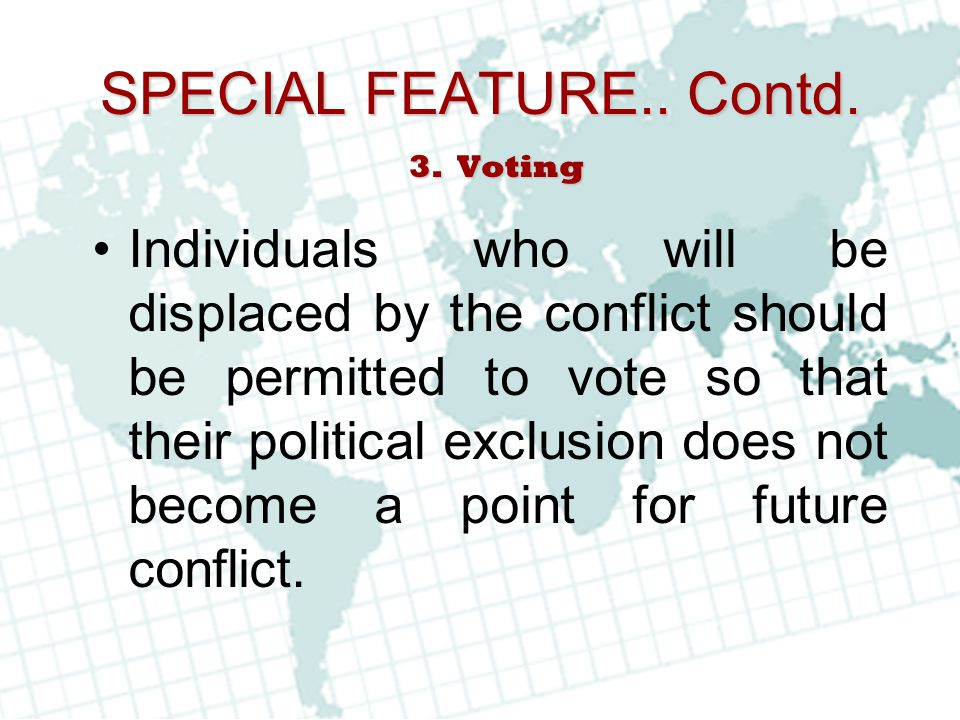 SPECIAL FEATURE.. Contd. Voting.