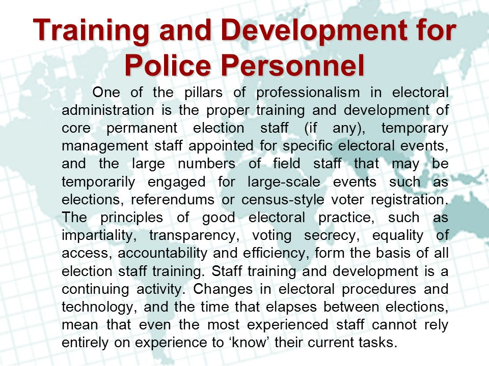 Training and Development for Police Personnel