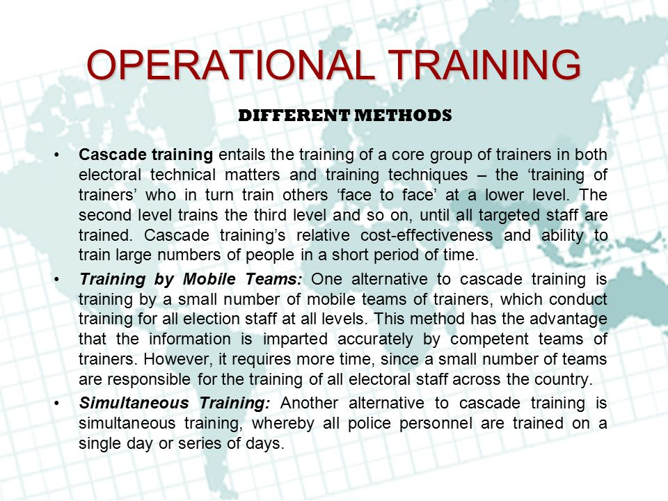 OPERATIONAL TRAINING DIFFERENT METHODS