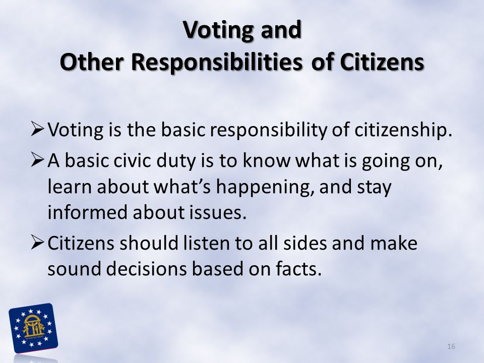 Voting and Other Responsibilities of Citizens