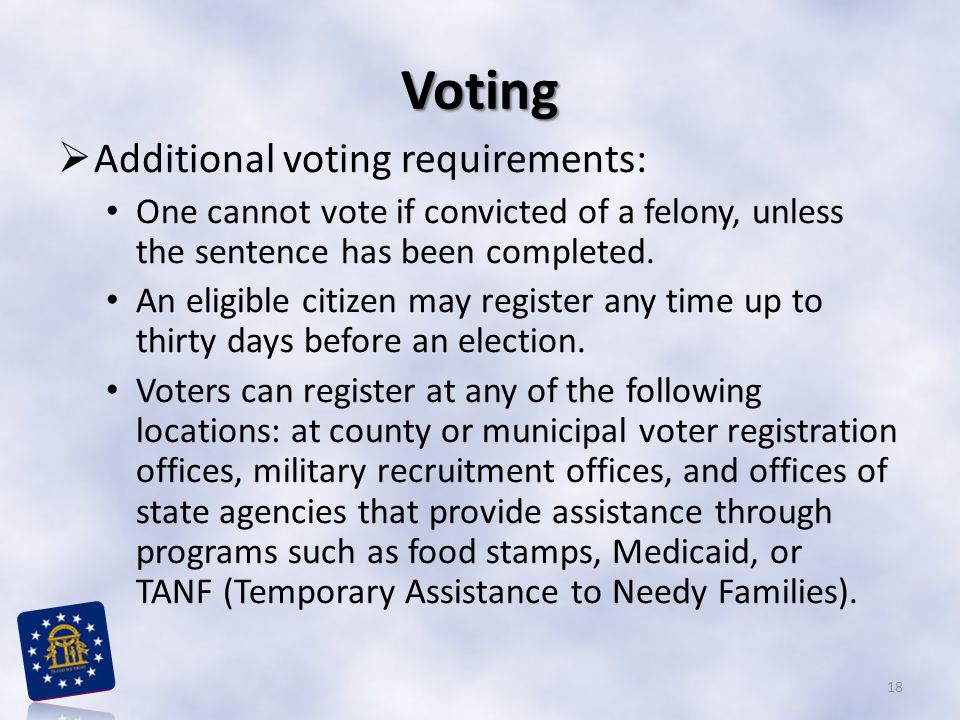 Voting Additional voting requirements:
