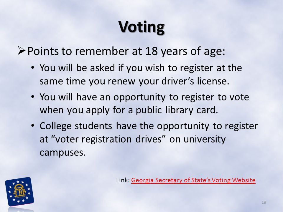 Voting Points to remember at 18 years of age: