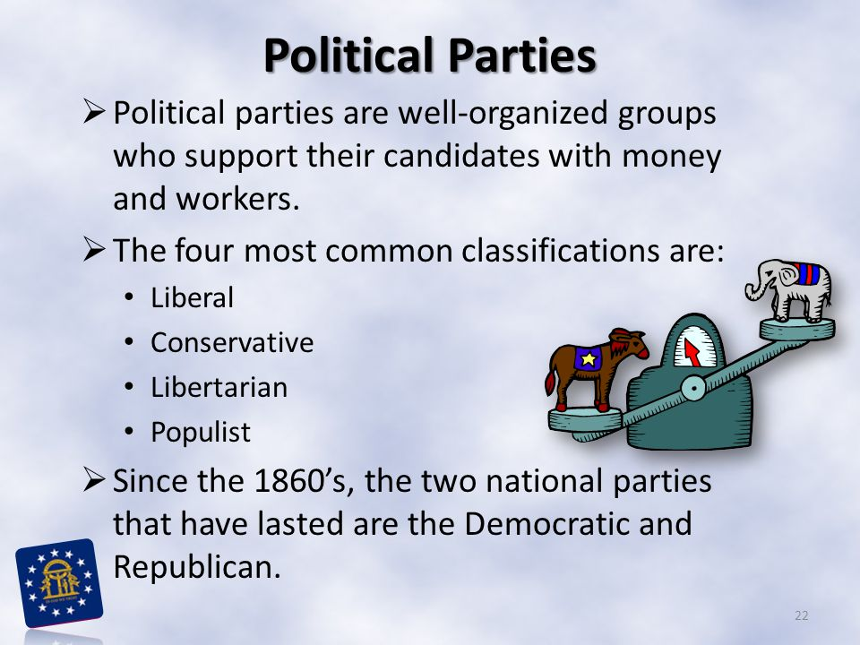 Political Parties Political parties are well-organized groups who support their candidates with money and workers.