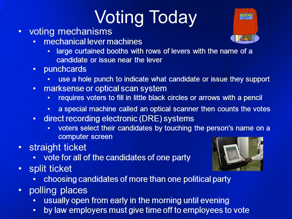 Voting Today voting mechanisms straight ticket split ticket