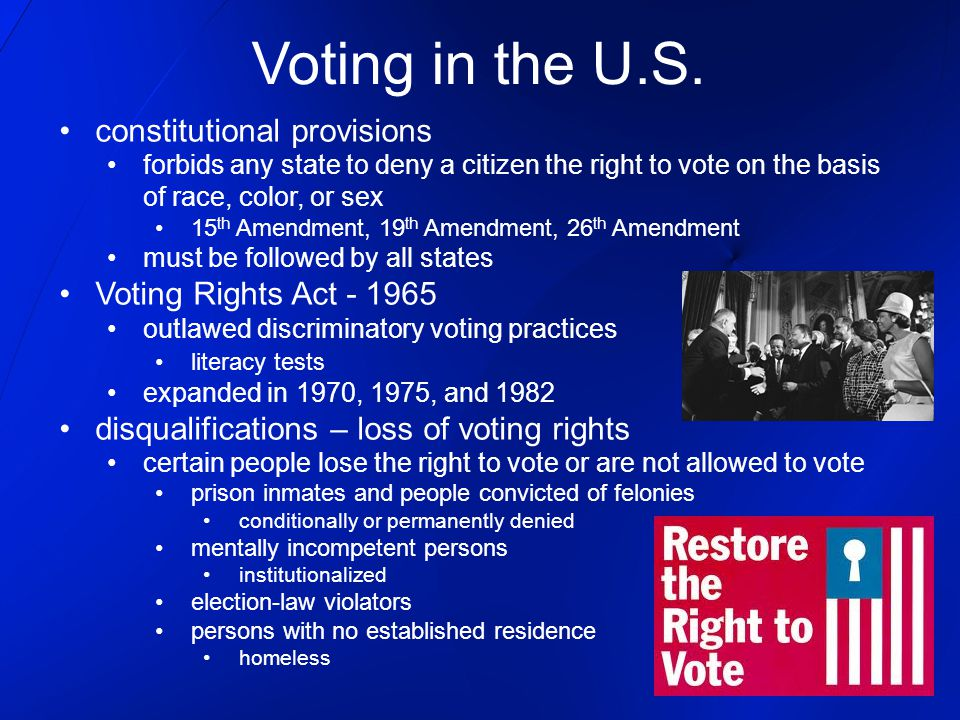 Voting in the U.S. constitutional provisions Voting Rights Act - 1965