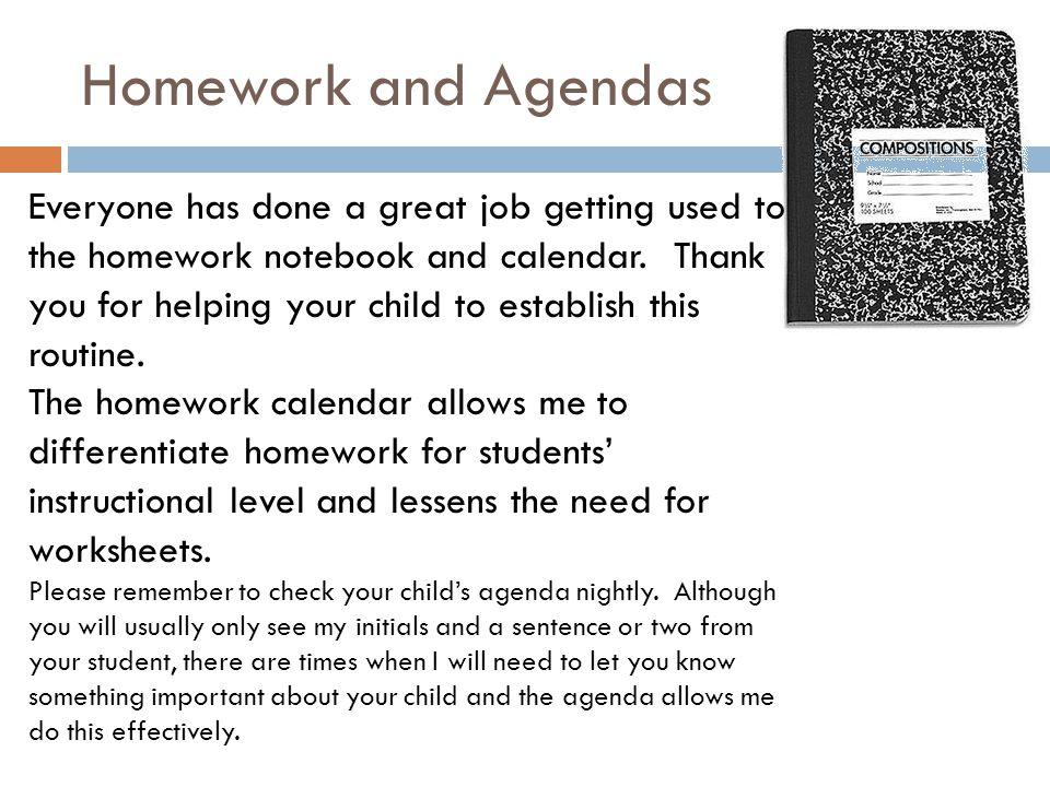 Homework and Agendas