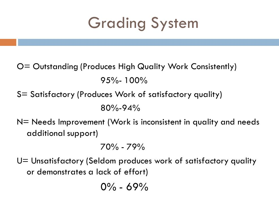 Grading System O= Outstanding (Produces High Quality Work Consistently) 95%- 100% S= Satisfactory (Produces Work of satisfactory quality)