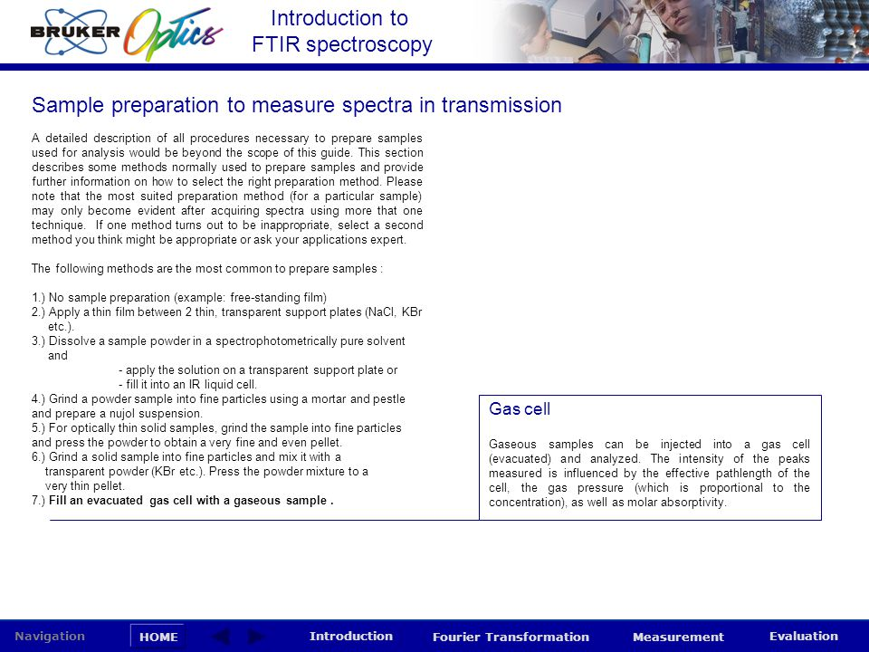 Sample preparation to measure spectra in transmission